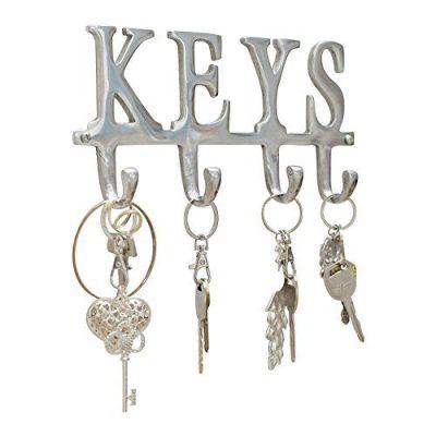 "Comfify Key Holder ""Keys"" - Wall Mounted Key Holder - 4 Key Hooks Rack - Decorative Cast Aluminum Key Rack - Polished Finish - with Screws and Anchors (Keys AL-1507-20)"