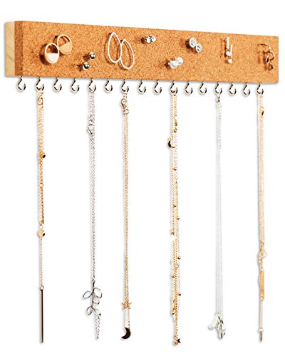 Stud Earring Organizer Hanging Holder with Cork Board - Wall Mount Jewelry Organizers - Necklace Display Rack - Mounted Cork Jewelry Display - Storage Hanger for Necklaces and Stud Earrings