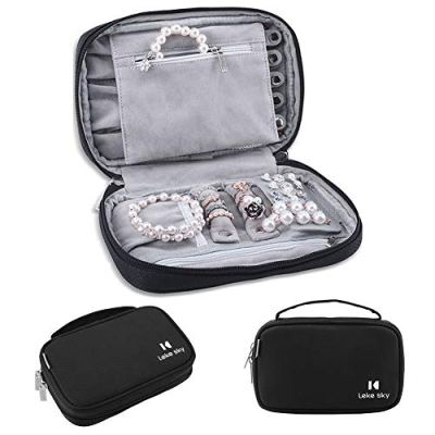 Lekesky Jewelry Organizer Bag Travel Jewelry Storage Cases Portable Jewelry Case for Necklaces, Earrings, Rings, Bracelets, Black