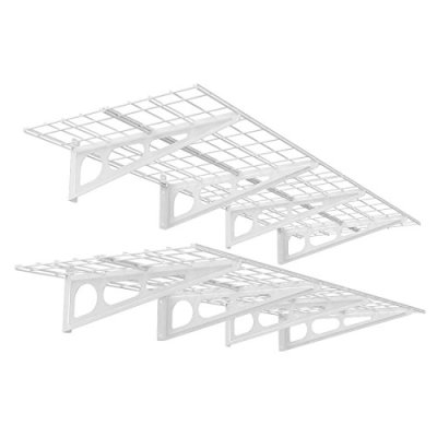FLEXIMOUNTS 2' x 6' White 2-Pack 2x6ft 24-inch-by-72-inch Wall Shelf Garage