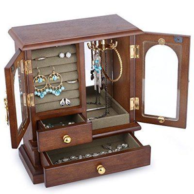 Kendal Real Natural Hardwood Wooden Jewelry Box Organizer WJC02HT