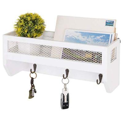 MyGift 16-Inch White Wood Wall-Mounted Shelf with Key Hooks