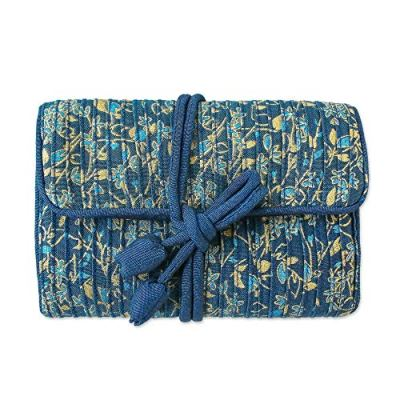 NOVICA Rayon and Silk Blend, Dusty Lavender Floral Journey' Jewelry Roll, Blue