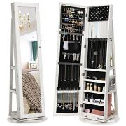 SONGMICS 360° Swivel Jewelry Cabinet, High Full Length Mirror, Lockable Jewelry Armoire, with Built-in Small Mirror, Rear Storage Shelves, Off White UJJC62WT