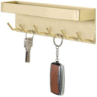 MyGift 6-Hook Brass Wall-Mounted Metal Key Holder