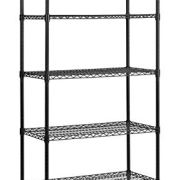 """Muscle Rack 5 Shelf Black Wire Mobile Shelving Unit, 72"""" Height"""
