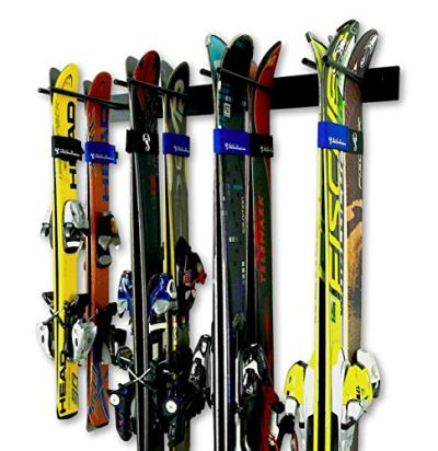 StoreYourBoard Ski Wall Storage Rack, Holds 8 Pairs, Steel Home and Garage