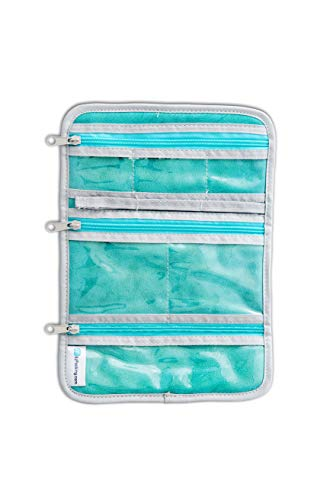 EzPacking Jewelry Roll for Home Organization and Travel/Necklaces, Rings, Bracelets, Earrings Organizer for Storage (Silver/White)