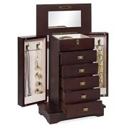 Best Choice Products Handcrafted Wooden Box Organizer Tabletop Armoire Cabinet