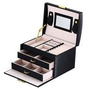 goldwheat Jewelry Box with Lock and Mirror Lockable Travel Jewelry Organizer Gift