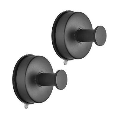 JOMOLA 2PCS Stainless Steel Bathroom Towel Hook Suction Cup Holder Utility Shower Hooks Hanger for Towel Storage Kitchen Utensil Vacuum Suction Cup Hooks, Matte Black