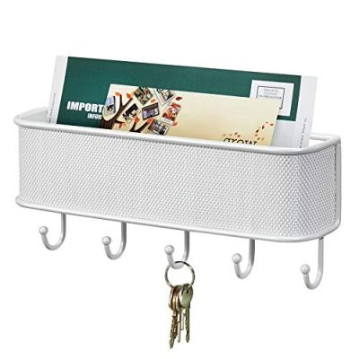 mDesign Metal Woven Wall Mount Storage Organizer Mail Sorter Basket with 5 Hooks - for Letters, Magazines, Coat, Pet Leash and Keys for Entryway, Mudroom, Hallway, Kitchen, Office - White