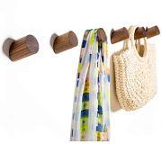 Wall Hooks, Felidio Natural Wood Coat Hooks Wall Mounted (Pack of 2pcs)
