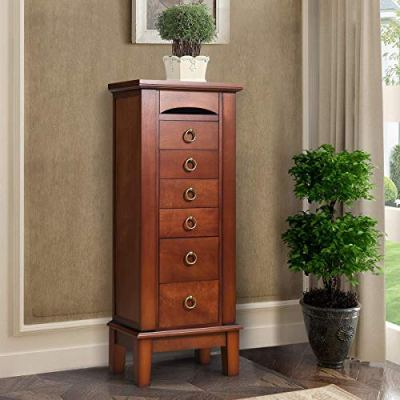 HOMGX 6 Drawers Armoire Cabinet, Standing Storage Chest with Mirror