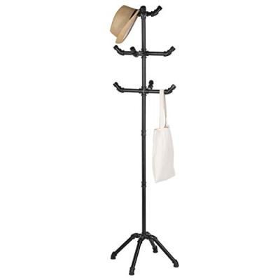 MyGift 65-Inch Industrial-Theme Black Metal Pipe 10-Hook Coat Stand