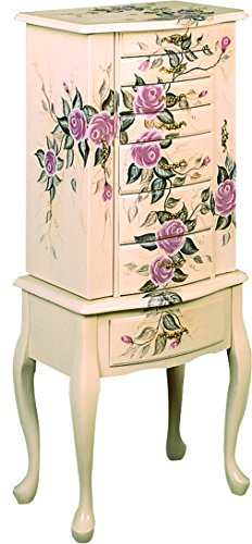 Hand Painted Jewelry Armoire Off White