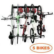 Bike Storage Garage Rack Holds 5 Bicycles Vertical Wall Mount Bike Hanger Hooks