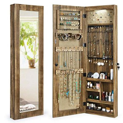 SRIWATANA Jewelry Armoire Cabinet, Solid Wood Jewelry Organizer with Full Length Mirror Wall/Door Mounted(Carbonized Black)