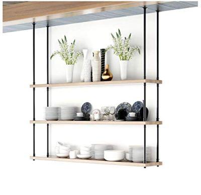 DIYHD 68inch Ceiling Mount Industrial Black Iron Pipe 3 Layer Kitchen Storage Shelf Bracket(No Planks), Design
