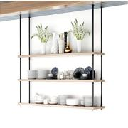 DIYHD 68inch Ceiling Mount Industrial Black Iron Pipe 3 Layer Kitchen Storage Shelf Bracket(No Planks), Design
