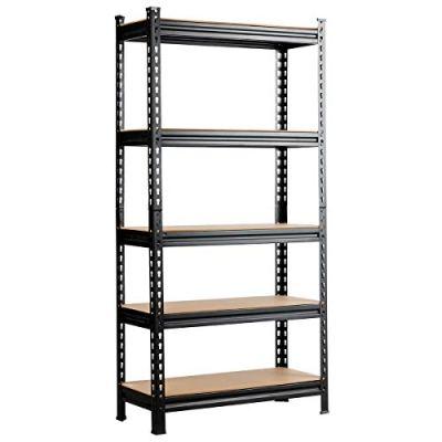 Tangkula 5-Shelf Steel Shelving Unit, 60in Heavy Duty Storage Rack