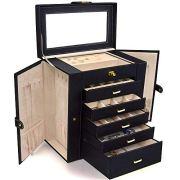 AKOZLIN Large Jewelry Box Organizer Functional Huge Lockable
