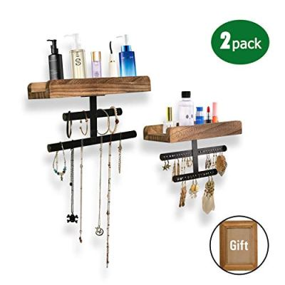Refrze Rustic Hanging Jewelry Organizer,Wall Mounted Jewelry Organizer, Wood Jewelry Holder Display for Necklaces Bracelet Earrings Ring 2 Packs