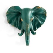 HERNGEE Elephant Head Single Wall Hook/Hanger Animal Shaped Coat Hat Hook Heavy Duty, Rustic, Decorative Gift, Rustic Bronze Color