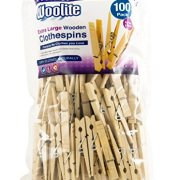 Woolite Extra Large Wooden 100 Pack Clothespins, Natural