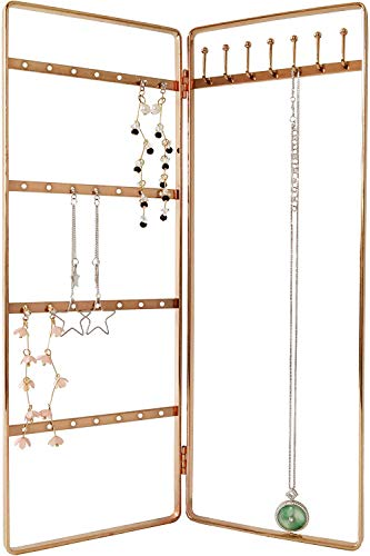 Simple and Neat Bi-Folding Jewelry Storage Stand for Earrings, Bracelets and Necklaces, Gold Finish