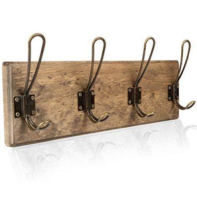 Wall Mounted Coat Rack - Rustic Wooden 4 Hook Coat Hanger Rail