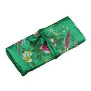 SeeRaphee Silk Embroidery Brocade Jewelry Travel roll Jewelry Organizer (Black Green)
