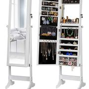 LUXFURNI LED Light Jewelry Cabinet Standing Mirror Makeup Lockable Armoire