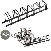 6 Bike Bicycle Stand Parking Garage Storage Organizer Cycling Rack Black
