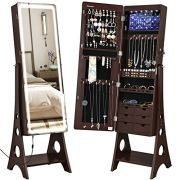 SONGMICS Jewelry Cabinet Armoire with Adjustable Light Ribbon on Beveled Edge