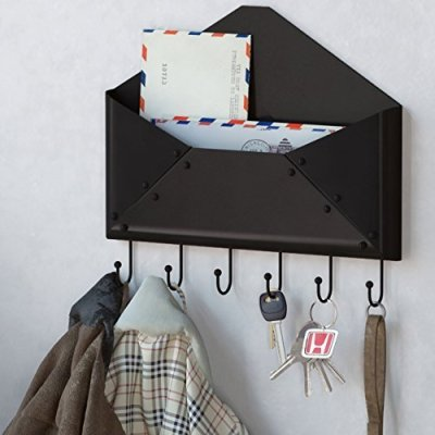 WALLNITURE Foyer Wall Mount Letter Mail Key Newspaper Magazine Holder Coat Rack Envelope Shape Steel Entryway Organizer with 6 Hooks Black