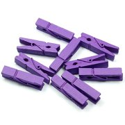 Topxome 100pcs/Set Mini Colored Wooden Clips for Photo Clips Clothespin Paper Peg Pin Craft Decoration Clips Pegs Wedding Decoration (Purple)