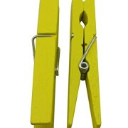 """Wood Craft Clothespins Pegs with Spring 2.9"""" Pack of 40 (Yellow)"""