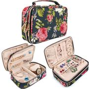 Travel Jewelry Organizer Case Storage Bag Holder for Earrings,Necklace,Rings,Watch and More Essentials,Roomy and Portable (Red-Flower)