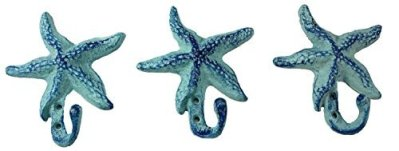Starfish Cast Iron Wall Hooks Antique Blue - Set of 3 for Coats, Aprons, Hats