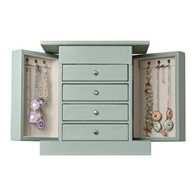 Hives & Honey Layla Blue Jewelry Box, Jewelry Organizer, Mirror Jewelry Chest