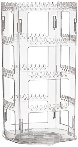 Sooyee 360 Rotating Earring Holder and Jewelry Organizer, 4 Tiers Jewelry Rack Display Classic Stand, 156 Holes and 160 Grooves for Necklaces Earrings Piercings, Clear