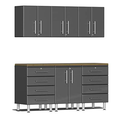 Ulti-MATE 7-Piece Garage Cabinet Kit with Bamboo Worktop in Graphite Grey