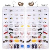 AARainbow Hanging Jewelry Organizer,80 Pockets Dual-Sided Non-Woven Transparent Foldable Organizers for Closet,Women Girl Storage Bag for Earrings Necklace Bracelet Ring Accessory (White)