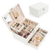 Jewelry Box Organizer Three-Layers Leather Jewelry Display Case with Retro Lock and Mirror (Three-Layers, White)