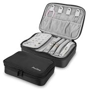 Procase Travel Jewelry Case Organizer Bag, Soft Padded Double Layer Jewelry Carrying Pouch Portable Jewelry Storage Box Holder for Earrings, Rings, Necklaces, Bracelets, and Chains -Black