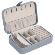 SONGMICS Travel Jewelry Box, Jewelry Organizer for Necklaces, Rings, Studs, with Hooks, Elastic Pocket, Multiple Compartments, and Removable Dividers, Snap Closure, Smoky Blue UJBC240BU