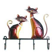 Tooarts Wall Mounted Key Holder Iron Cat Wall Hanger Hook Decor 4 Hooks