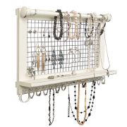 Wooden Wall Mount Organizer for Jewelry - Vintage Design Jewelry Holder with Removable Bracelet Rod - Easy Installation - No More Tangling - Ideal for Earrings, Bracelets, Necklaces (Rustic White)