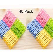 DurReus 2 Inch Small Plastic Colored Clothes Pins for Pictures Travel Laundry Clothespins Kitchen Clips for Chip Bags Bathroom Clothesline Pegs,Pack 40
